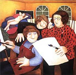 """The Art Class"" by Beryl Cook"