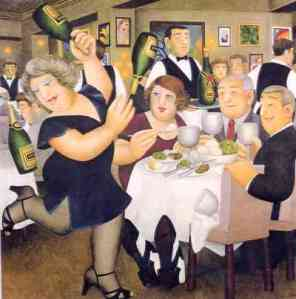 """Dining-out"" by Beryl Cook"