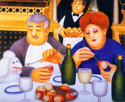 """""""Escargot Pour Trois"""" by Beryl Cook. Feeding the poodle at the dining table"""