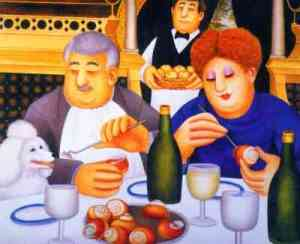 """Escargot Pour Trois"" by Beryl Cook. Feeding the poodle at the dining table"