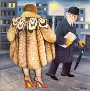 """My Fur Coat"" by Beryl Cook"