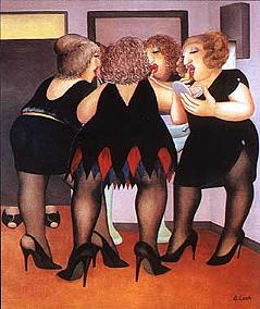"""""""Getting Ready"""" by Beryl Cook , Lipstick & panash"""