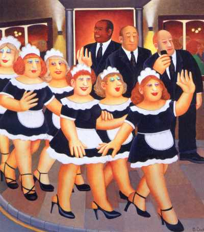 """Waitresses night out. """"Girls Night Out"""" by Beryl Cook"""
