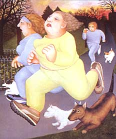 """Joggers on the Hoe"" by Beryl Cook"