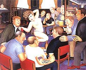 """Lunchtime Refreshment"" by Beryl Cook . Pole Dancing in Nude"