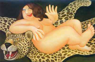 Nude on a Leopard Skin by Beryl Cook