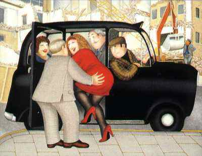 Taxi by Beryl Cook. McNeill Gallery has the largest collection of Beryl Cooks collectable signed prints
