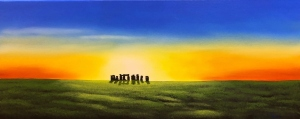 Glimmering silhoutte of Stonehenge at dawn