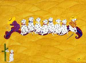 Dalmations flying a carpet - humour in art