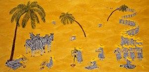 Zebra Art Class under Palm trees