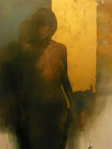 Nude Study in a gold background