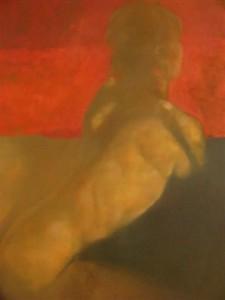 Red Stripe, Nude study in oil by Bill Bate