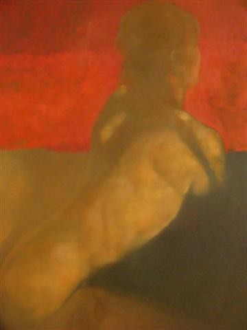 Red Stripe, Nude study in oil by Bill Bate