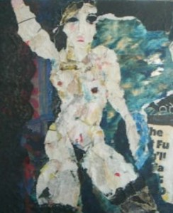 """"""" Floriavi"""" Oil & collage-nude by Inge Clayton"""