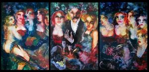 """""""The Dinner Party-triptych by Inge Clayton"""
