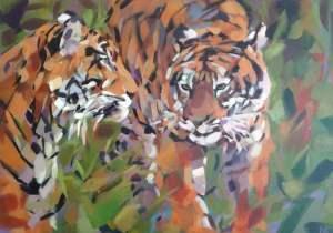 """Sumatran Tiger Acrylic on Canvas 20""""x28"""" (50x70cm, £595"""