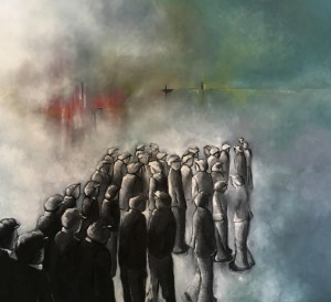 Hope by Sarah Barrow Miners lining up for work
