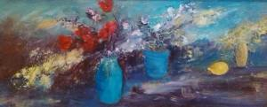 Still Life Turquoise Vase & Lemon by
