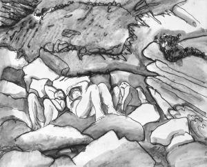 Sunbathing Between the Rocks Cornwall by Stephen Spicer