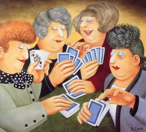 """""""A Full-House"""" by Beryl Cook. Cheating at cards"""