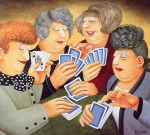 """A Full-House"" by Beryl Cook. Cheating at cards"