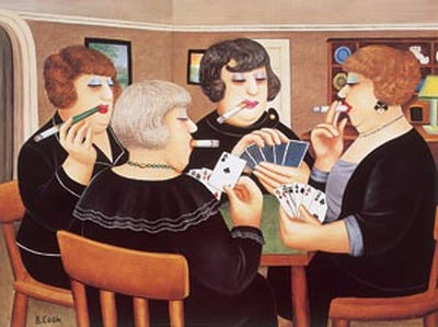 Women Smokers playing cards