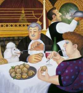 """Dining-in-Paris"" by Beryl Cook"