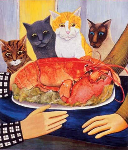 Four Cats staring at a lobster, wishing
