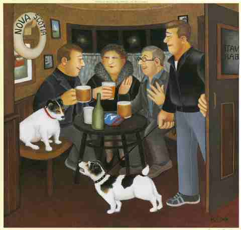"""""""In-the-Snug"""" by Beryl Cook. Terrier Dogs in pub"""