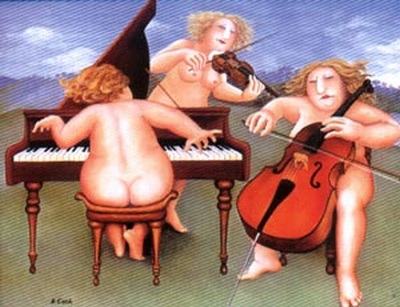 Three ladies in birthday suits playing chello, piano violin in a Meadow