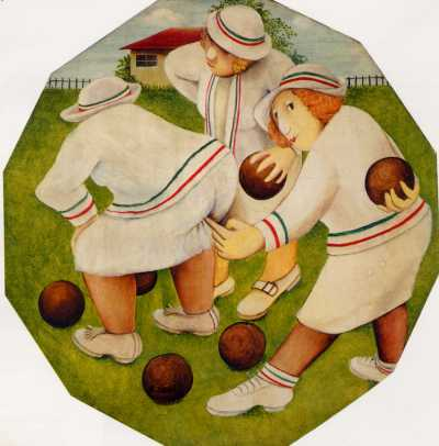 """Sabotage, Cheating at Bowls"" by Beryl Cook"