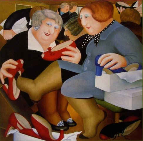 """""""Shoe-Shop"""" by Beryl Cook. Red High heeled Shoes"""