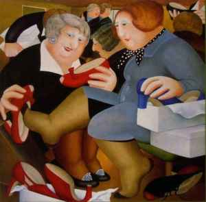 """Shoe-Shop"" by Beryl Cook. Red High heeled Shoes"