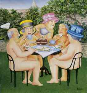 """Tea-in-the-Garden by Beryl Cook. Hot day birthday suit"