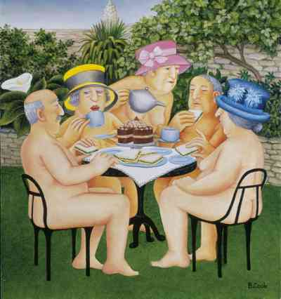 """""""Tea-in-the-Garden by Beryl Cook. Hot day birthday suit"""