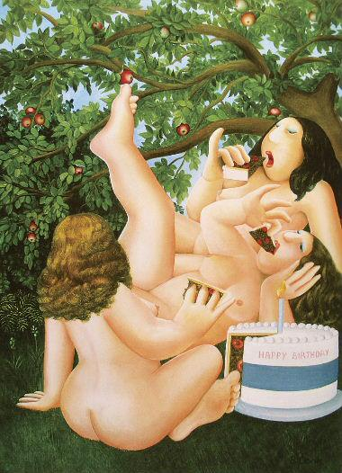 Three Nude ladies eating cake
