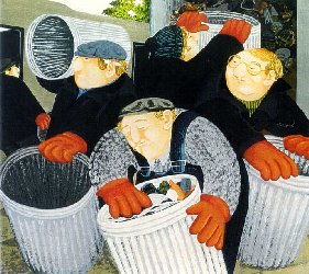 Dustbinmen by Beryl Cook