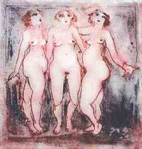 """Three Graces"" by Inge Clayton Inspired by Picasso's Les Demoisel... d'Avignon"
