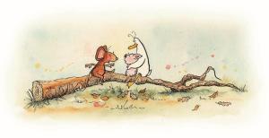 Mouse & Piglet on Fallen Branch by Chantal Bourgonje