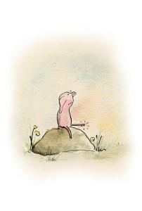 Little Pig on a Rock by Chantal Bourgonje